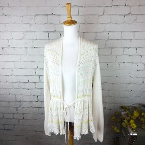 Anthropologie Moth linen blend beaded cardigan